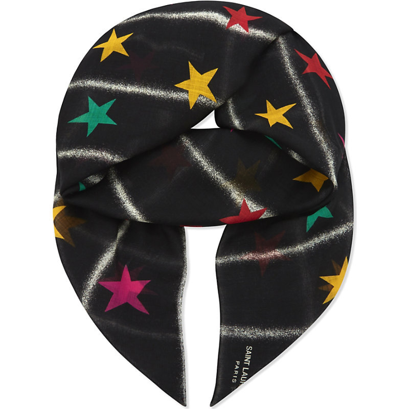 Star And Stripe Print Wool Scarf, Women's, Black Multi - predominant colour: black; occasions: casual; type of pattern: heavy; style: square; size: standard; material: fabric; pattern: patterned/print; season: a/w 2016; wardrobe: highlight