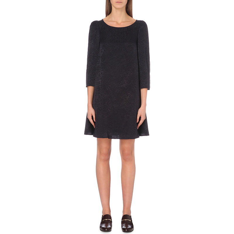 Rififi Jacquard Dress, Women's, Dark Blue/Gold - style: a-line; length: mid thigh; neckline: round neck; predominant colour: black; fit: soft a-line; fibres: viscose/rayon - 100%; sleeve length: 3/4 length; sleeve style: standard; pattern type: fabric; pattern size: light/subtle; pattern: patterned/print; texture group: brocade/jacquard; occasions: creative work; season: a/w 2016