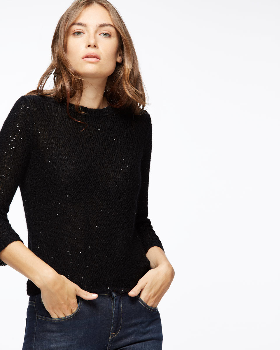 Sparkle Half Sleeve Jumper - neckline: round neck; pattern: plain; style: standard; predominant colour: black; occasions: casual, work, creative work; length: standard; fibres: wool - mix; fit: standard fit; sleeve length: 3/4 length; sleeve style: standard; texture group: knits/crochet; pattern type: knitted - fine stitch; wardrobe: basic; season: a/w 2016