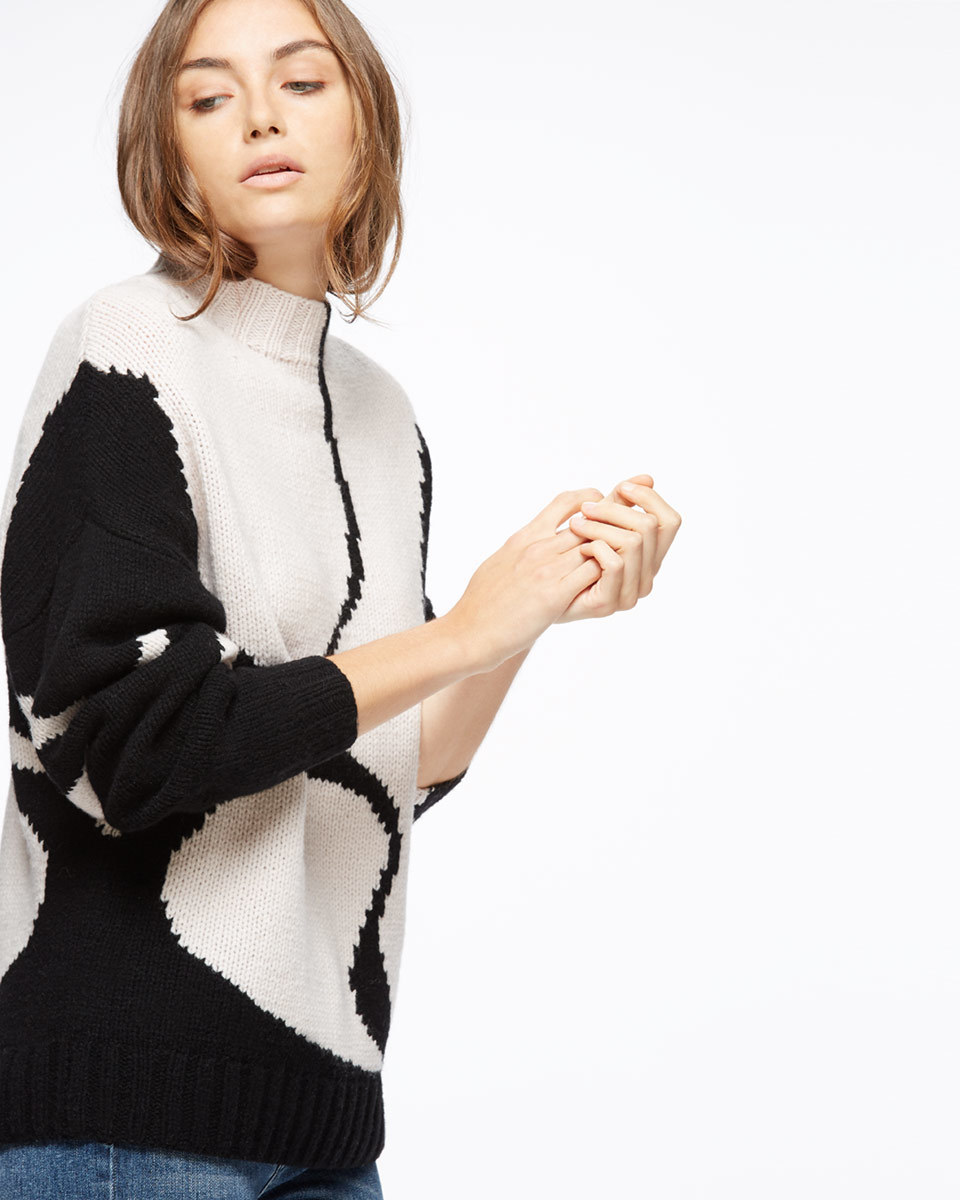 Silhouette Intarsia Jumper - neckline: high neck; predominant colour: white; secondary colour: black; occasions: casual, creative work; length: standard; style: top; fibres: wool - 100%; fit: straight cut; sleeve length: long sleeve; sleeve style: standard; texture group: knits/crochet; pattern type: knitted - other; pattern size: light/subtle; pattern: colourblock; season: a/w 2016; wardrobe: highlight