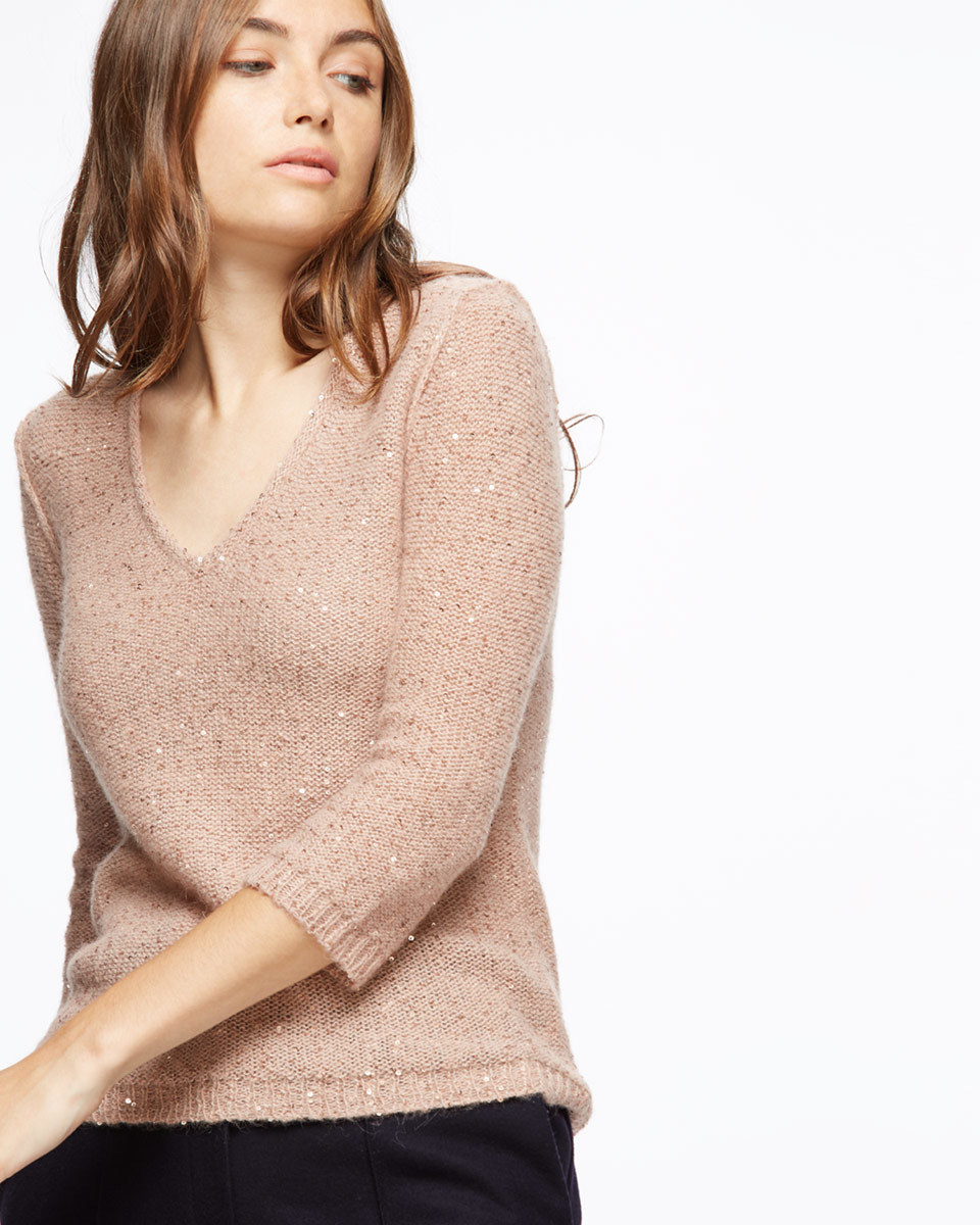 Sparkle V Neck Jumper - neckline: v-neck; pattern: plain; style: standard; predominant colour: blush; occasions: casual, creative work; length: standard; fibres: wool - mix; fit: standard fit; sleeve length: 3/4 length; sleeve style: standard; texture group: knits/crochet; pattern type: knitted - fine stitch; wardrobe: basic; season: a/w 2016