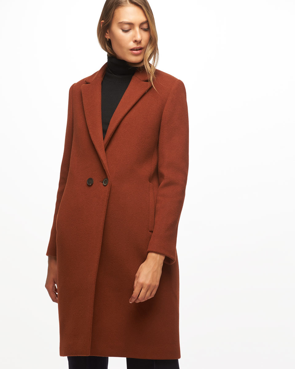 Matschinsky Narrow Double Breasted Coat - pattern: plain; style: double breasted; length: on the knee; collar: standard lapel/rever collar; predominant colour: terracotta; occasions: casual, creative work; fit: tailored/fitted; fibres: wool - mix; sleeve length: long sleeve; sleeve style: standard; collar break: medium; pattern type: fabric; texture group: woven bulky/heavy; season: a/w 2016; wardrobe: highlight