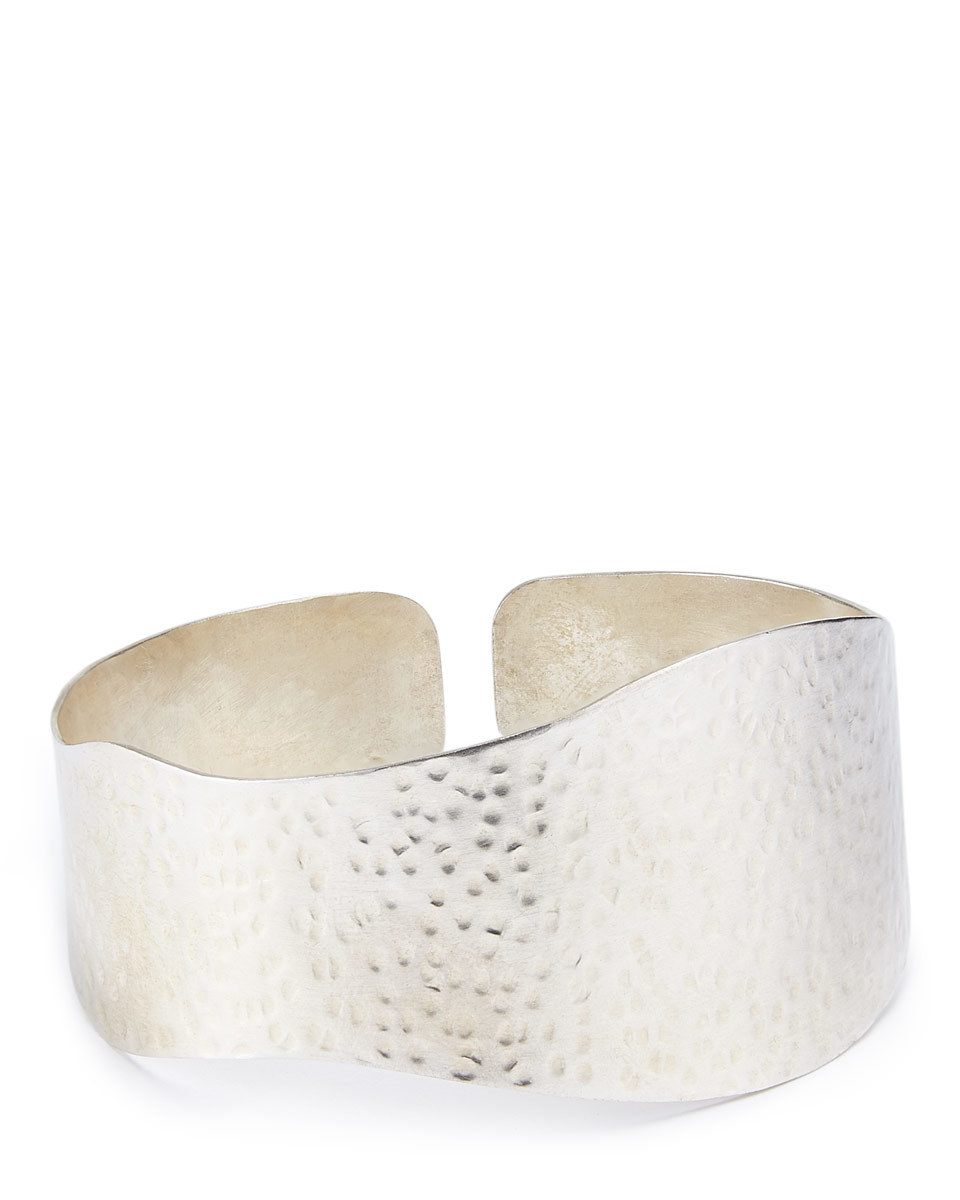 Made Hammered Grain Cuff - predominant colour: silver; occasions: evening, occasion, creative work; style: cuff; size: large/oversized; material: chain/metal; finish: metallic; season: a/w 2016; wardrobe: highlight