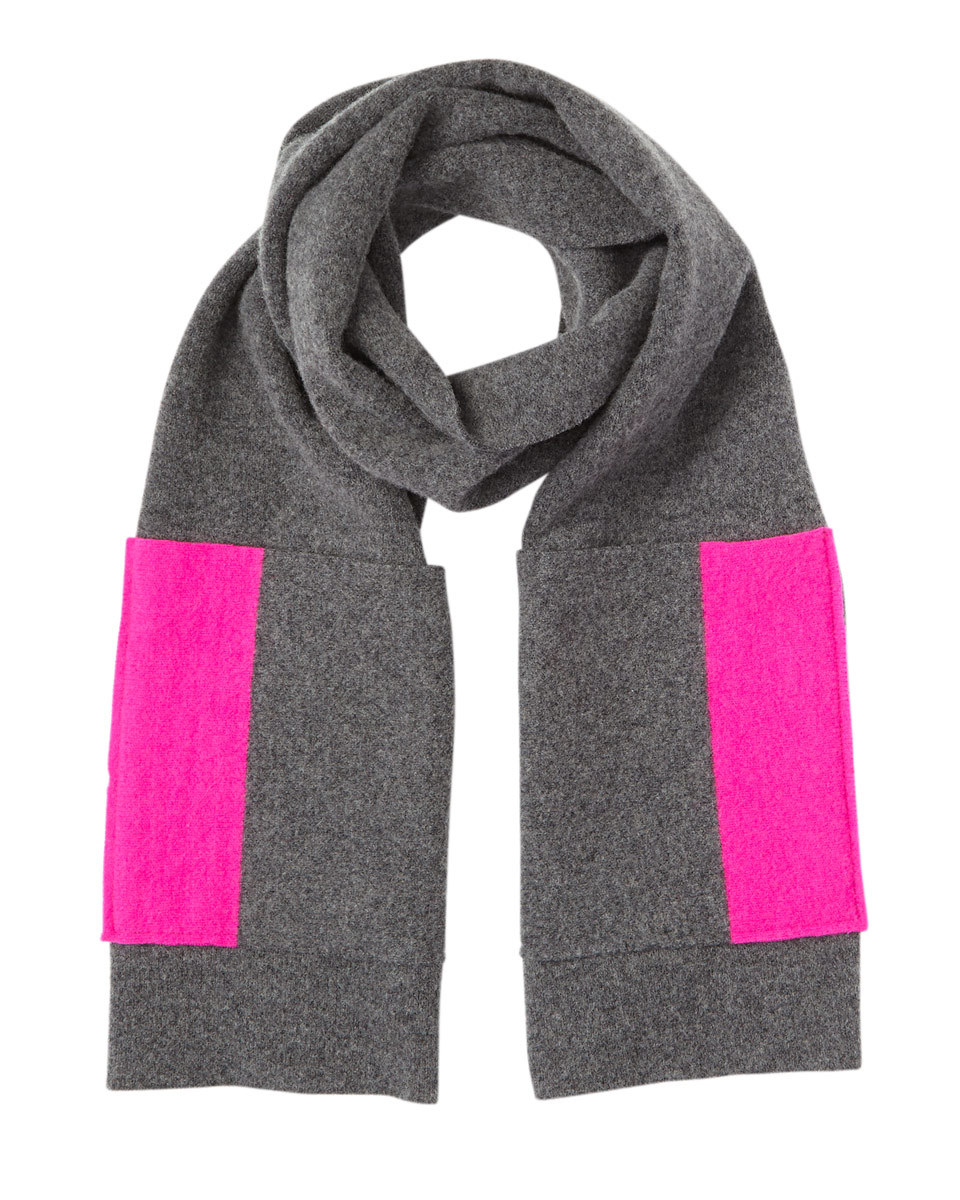 Shona Scarf Contrast Pockets - secondary colour: hot pink; predominant colour: charcoal; occasions: casual, creative work; type of pattern: standard; style: regular; size: standard; material: knits; pattern: colourblock; season: a/w 2016; wardrobe: highlight