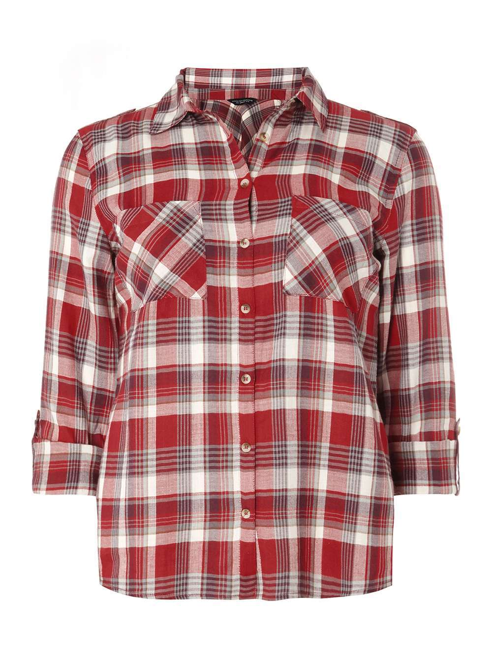 Womens Autumn Red Check Shirt Red - neckline: shirt collar/peter pan/zip with opening; pattern: checked/gingham; style: shirt; predominant colour: true red; secondary colour: mid grey; occasions: casual; length: standard; fibres: cotton - 100%; fit: loose; sleeve length: 3/4 length; sleeve style: standard; texture group: cotton feel fabrics; pattern type: fabric; pattern size: standard; multicoloured: multicoloured; season: a/w 2016; wardrobe: highlight