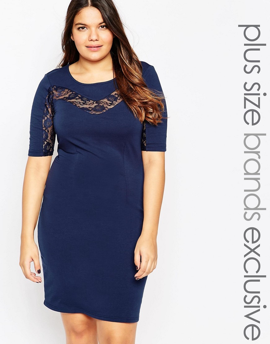 Lace Insert Bodycon Dress Navy - neckline: round neck; fit: tight; pattern: plain; style: bodycon; hip detail: draws attention to hips; predominant colour: navy; occasions: evening; length: just above the knee; fibres: polyester/polyamide - stretch; sleeve length: half sleeve; sleeve style: standard; texture group: jersey - clingy; pattern type: fabric; embellishment: lace; season: a/w 2016; wardrobe: event; embellishment location: bust, sleeve/cuff