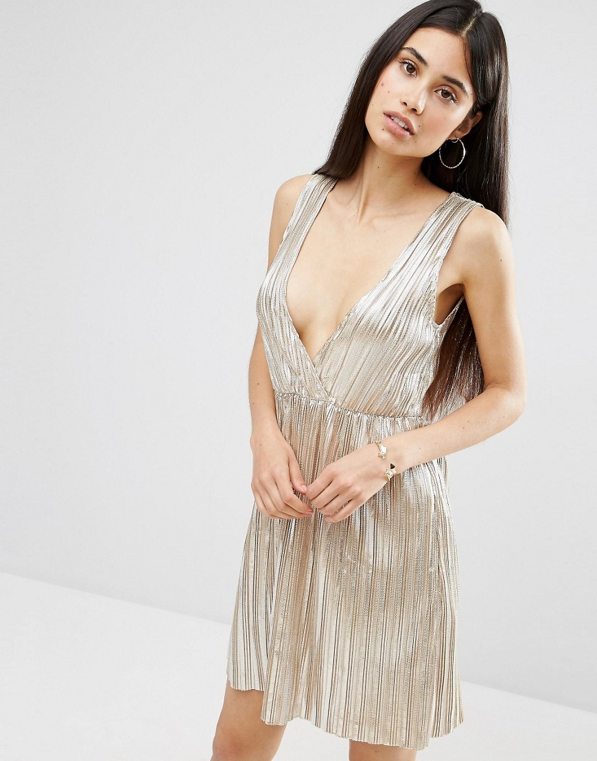 Metallic Pleat Plunging V Wrap Dress Silver Pleat - style: faux wrap/wrap; length: mid thigh; neckline: plunge; sleeve style: standard vest straps/shoulder straps; pattern: plain; predominant colour: silver; occasions: evening; fit: soft a-line; fibres: polyester/polyamide - 100%; hip detail: adds bulk at the hips; sleeve length: sleeveless; texture group: silky - light; pattern type: fabric; season: a/w 2016; wardrobe: event