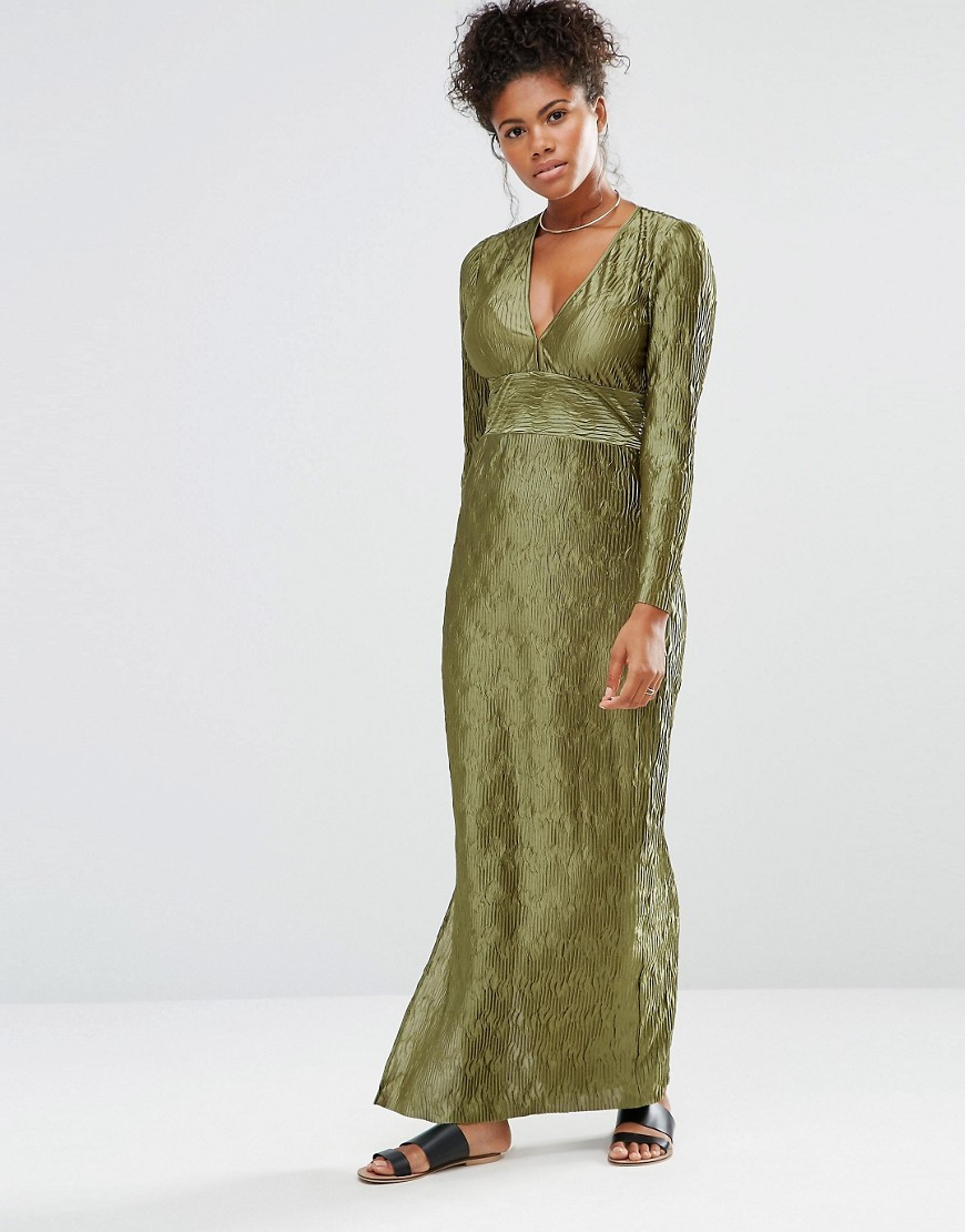 Maxi Dress With Deep V Neck Long Sleeves And Side Splits Khaki - neckline: low v-neck; fit: empire; style: maxi dress; length: ankle length; predominant colour: khaki; occasions: evening; fibres: polyester/polyamide - 100%; sleeve length: long sleeve; sleeve style: standard; texture group: silky - light; pattern type: fabric; pattern size: light/subtle; pattern: patterned/print; season: a/w 2016; wardrobe: event