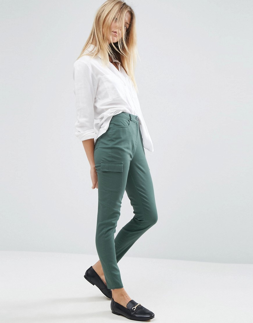 Cigarette Trousers Washed Teal - pattern: plain; waist: high rise; style: cargo; predominant colour: dark green; occasions: casual, creative work; length: ankle length; fibres: cotton - stretch; texture group: cotton feel fabrics; fit: skinny/tight leg; pattern type: fabric; season: a/w 2016; trends: military