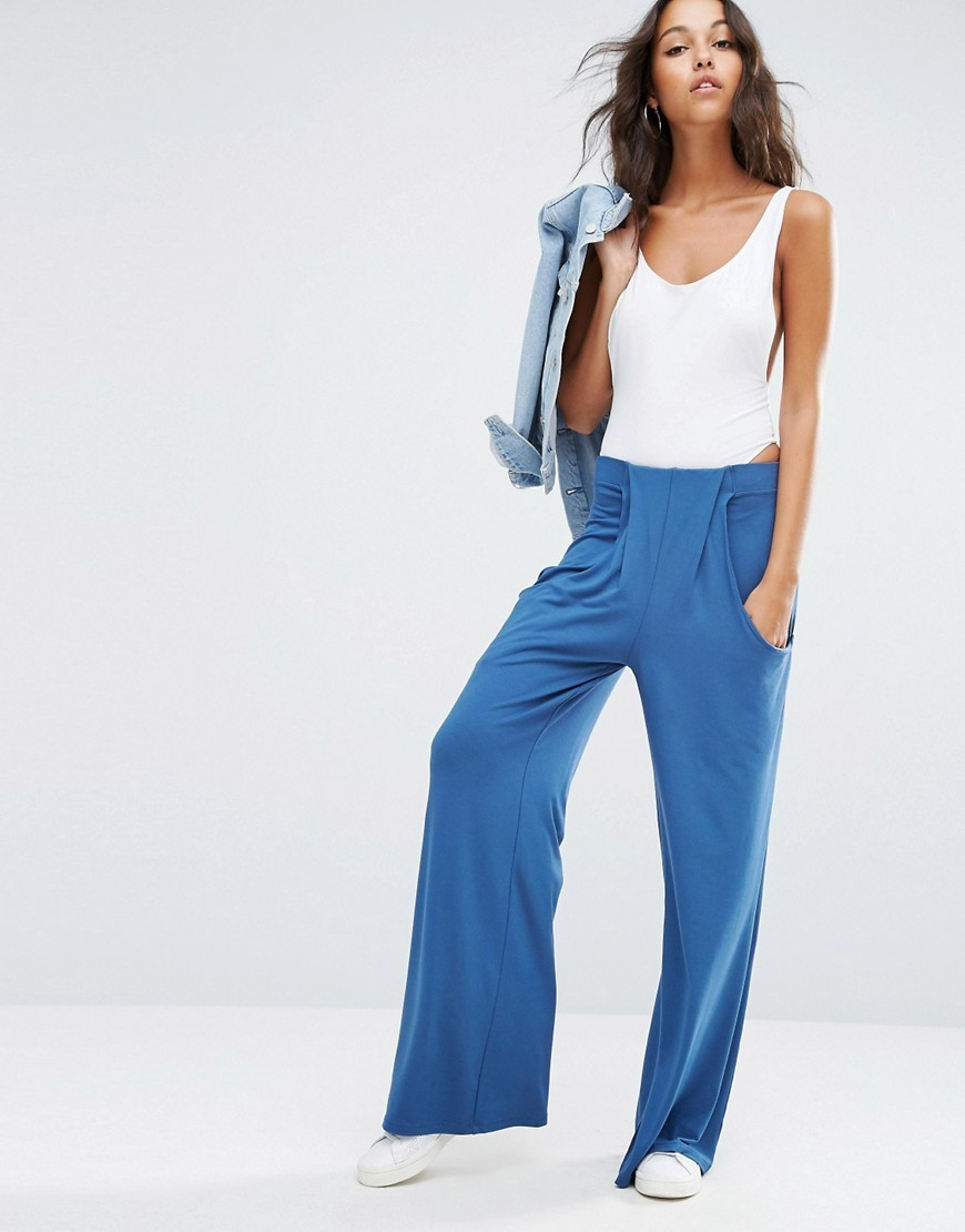 Slouch Wide Leg Trousers With Drop Pockets Dusty Blue - length: standard; pattern: plain; style: palazzo; waist: low rise; predominant colour: diva blue; occasions: casual; fibres: polyester/polyamide - stretch; fit: wide leg; pattern type: fabric; texture group: jersey - stretchy/drapey; season: a/w 2016