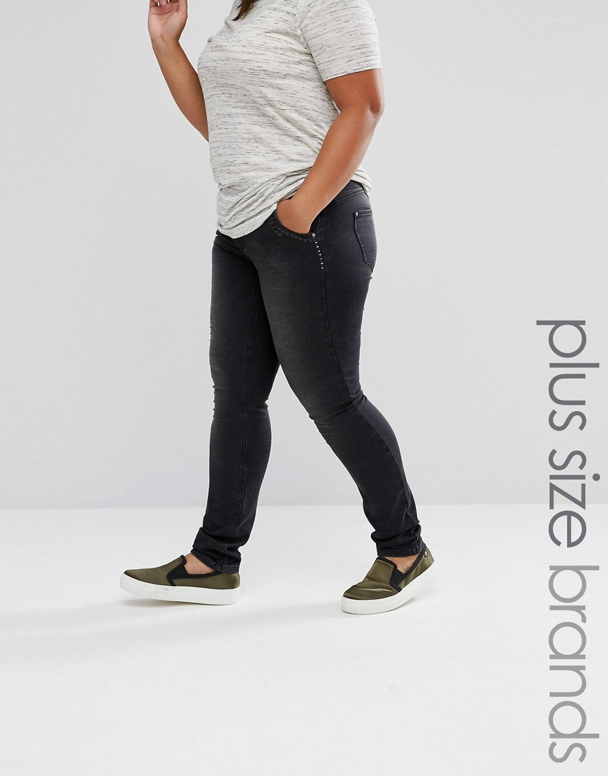 Slim Leg Jeans With Stud Details Grey - style: skinny leg; length: standard; pattern: plain; pocket detail: traditional 5 pocket; waist: mid/regular rise; predominant colour: charcoal; occasions: casual, creative work; fibres: cotton - stretch; jeans detail: dark wash; texture group: denim; pattern type: fabric; season: a/w 2016; wardrobe: highlight