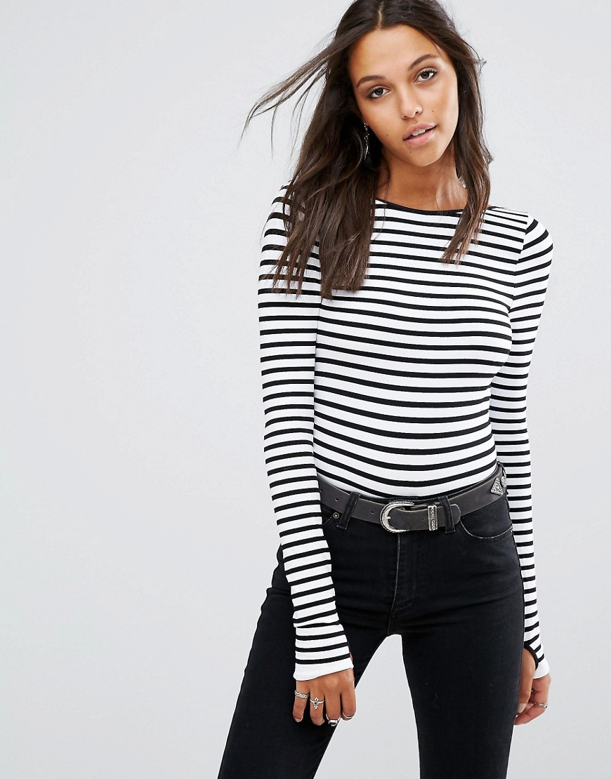 Seamless Bodysuit Black Combo - pattern: horizontal stripes; predominant colour: black; occasions: casual, creative work; length: standard; fit: body skimming; neckline: crew; sleeve length: long sleeve; sleeve style: standard; pattern type: fabric; texture group: jersey - stretchy/drapey; fibres: nylon - stretch; style: bodysuit; pattern size: big & busy (top); wardrobe: basic; season: a/w 2016