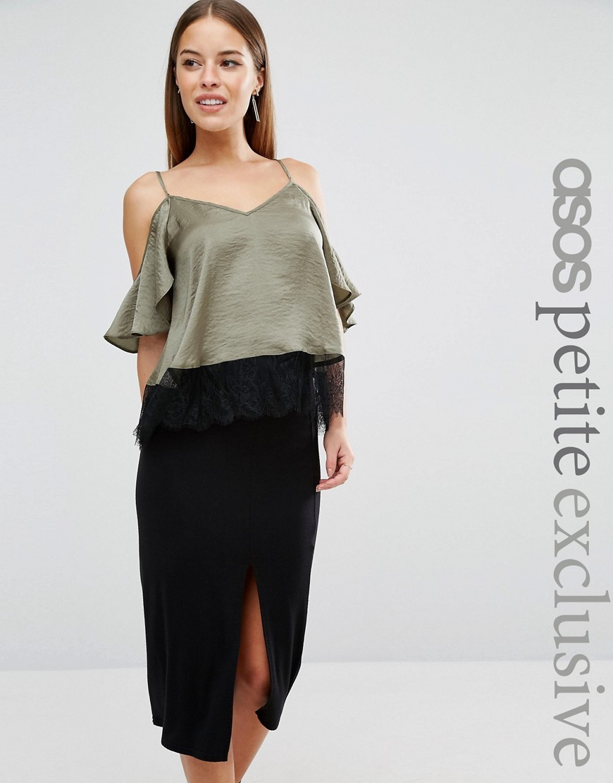 Cold Shoulder Satin Cami With Lace Hem Khaki - neckline: low v-neck; pattern: plain; length: cropped; predominant colour: khaki; occasions: evening; style: top; fibres: polyester/polyamide - 100%; fit: loose; shoulder detail: cut out shoulder; sleeve length: half sleeve; sleeve style: standard; texture group: structured shiny - satin/tafetta/silk etc.; pattern type: fabric; season: a/w 2016; wardrobe: event