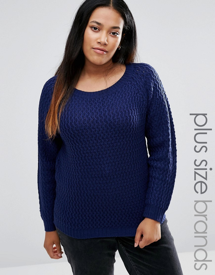 Plus Jumper Navy - neckline: round neck; pattern: plain; style: standard; predominant colour: navy; occasions: casual, creative work; length: standard; fibres: acrylic - 100%; fit: standard fit; sleeve length: long sleeve; sleeve style: standard; texture group: knits/crochet; pattern type: knitted - fine stitch; wardrobe: basic; season: a/w 2016