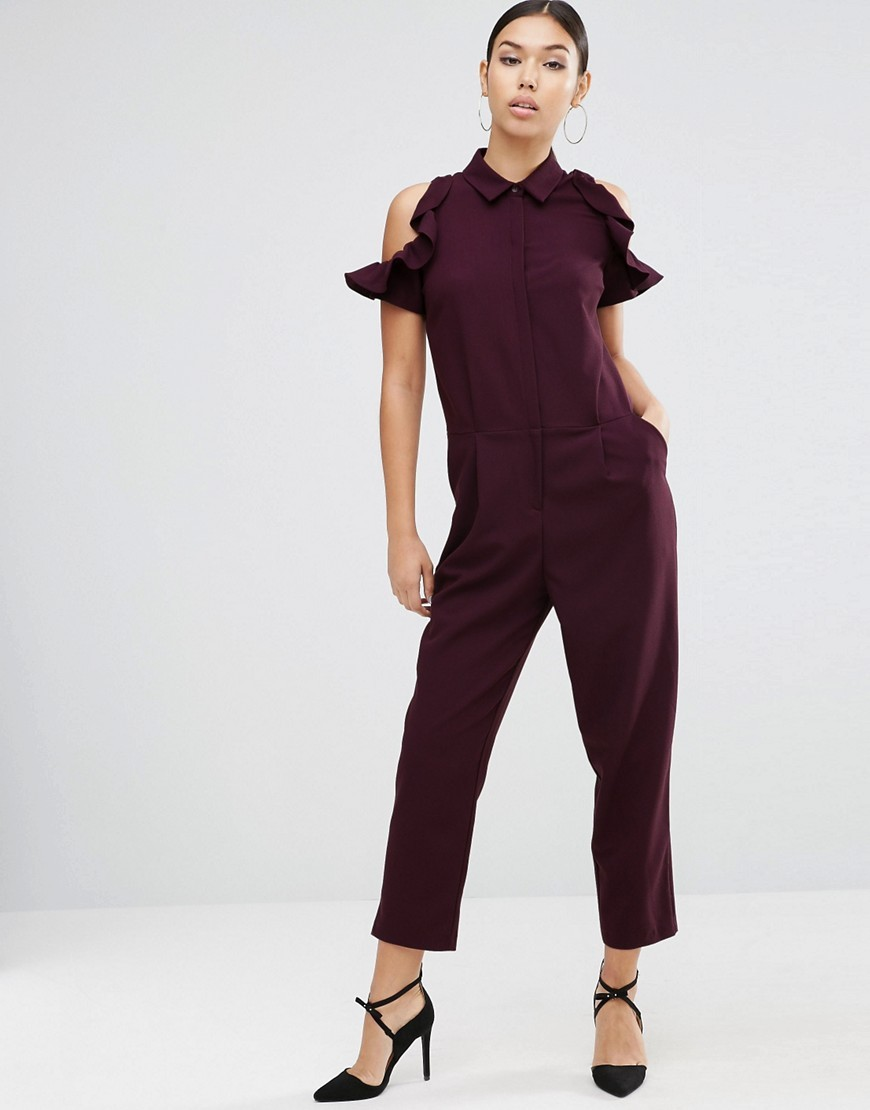 Shirt Jumpsuit With Cold Shoulder Ruffle Sleeve Berry - neckline: shirt collar/peter pan/zip with opening; pattern: plain; predominant colour: aubergine; occasions: evening; length: ankle length; fit: body skimming; fibres: polyester/polyamide - stretch; shoulder detail: cut out shoulder; sleeve length: short sleeve; sleeve style: standard; texture group: crepes; style: jumpsuit; pattern type: fabric; season: a/w 2016