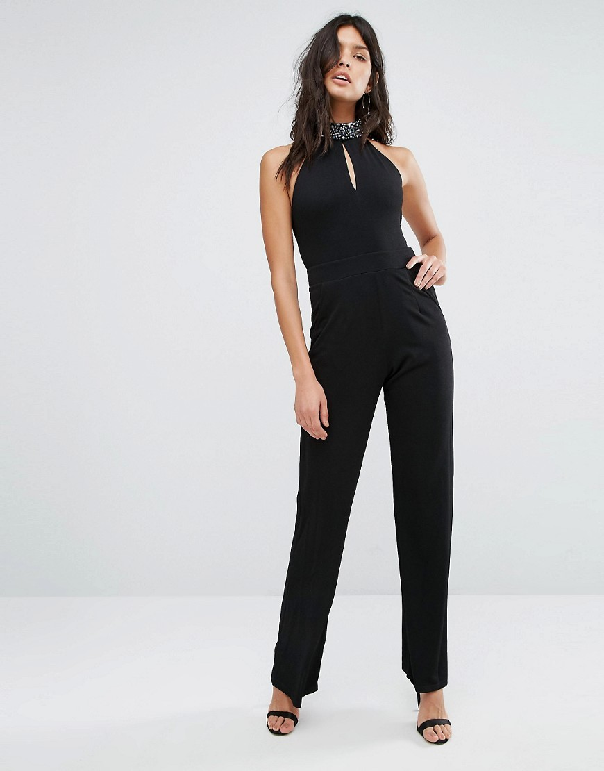 Embellished Neck Jumpsuit Black - length: standard; pattern: plain; sleeve style: sleeveless; neckline: high neck; predominant colour: black; occasions: evening; fit: body skimming; fibres: polyester/polyamide - stretch; sleeve length: sleeveless; style: jumpsuit; pattern type: fabric; texture group: jersey - stretchy/drapey; embellishment: crystals/glass; season: a/w 2016; wardrobe: event; embellishment location: neck