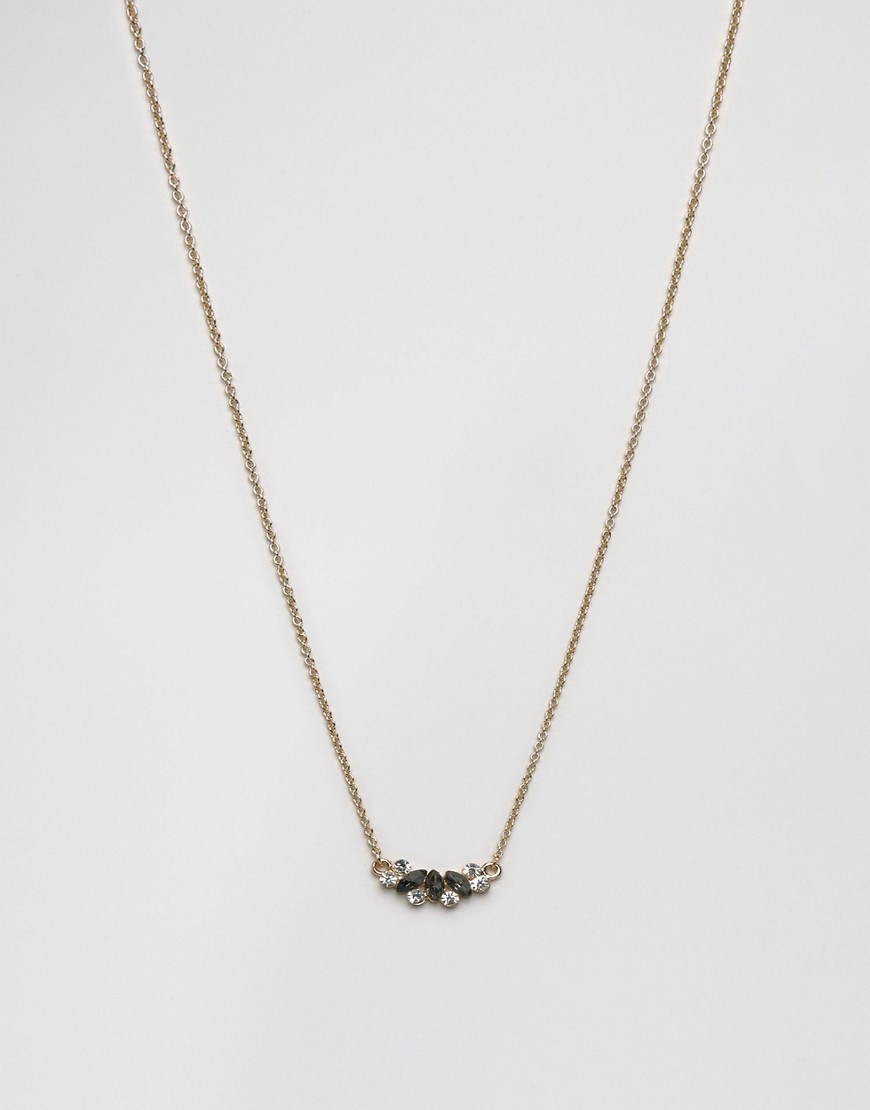 Halle Choker Necklace Black - predominant colour: gold; occasions: evening; style: pendant; length: mid; size: small/fine; material: chain/metal; finish: metallic; embellishment: jewels/stone; season: a/w 2016; wardrobe: event