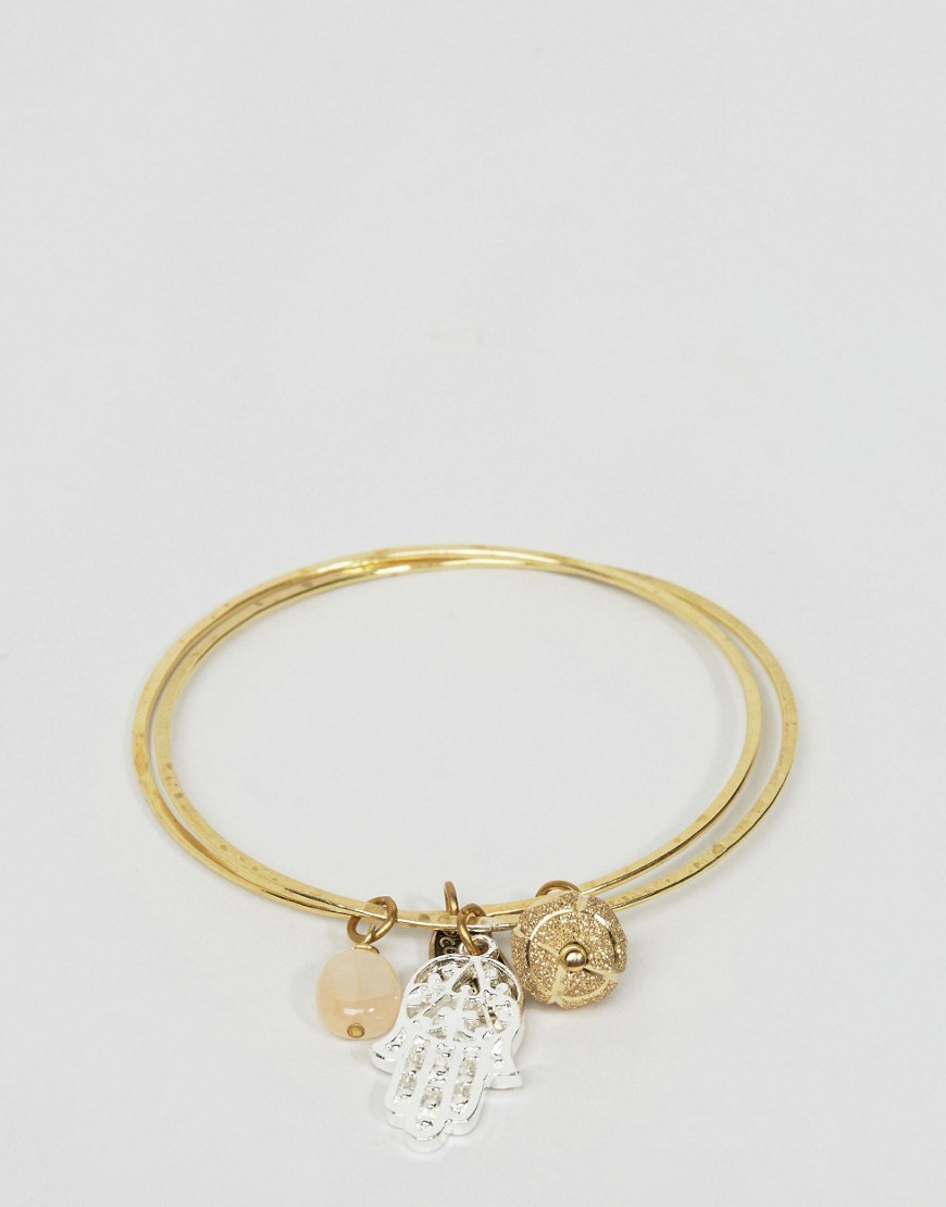 Hamsa Hand And Moon Stone Bangle Gold - predominant colour: gold; occasions: casual; style: bangle/standard; size: standard; material: chain/metal; finish: metallic; embellishment: jewels/stone; wardrobe: basic; season: a/w 2016