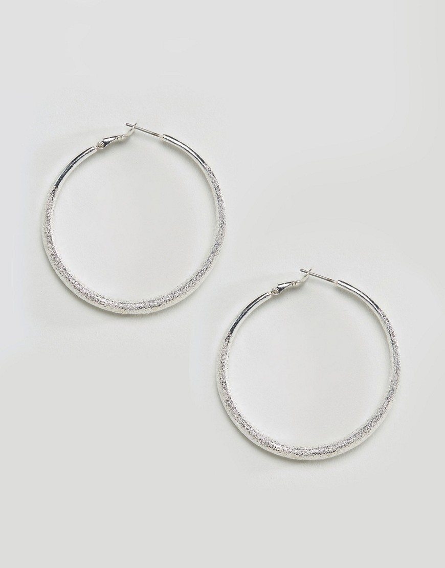 Textured Hoop Earrings Silver/Crystal - predominant colour: silver; occasions: casual; style: hoop; length: mid; size: standard; material: chain/metal; fastening: pierced; finish: metallic; wardrobe: basic; season: a/w 2016