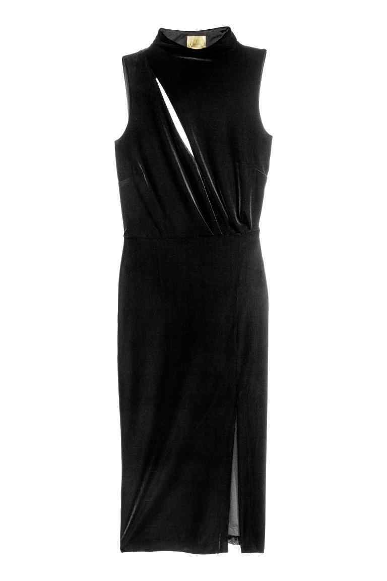 Sleeveless Velour Dress - style: shift; fit: tailored/fitted; pattern: plain; sleeve style: sleeveless; neckline: high neck; predominant colour: black; occasions: evening; length: on the knee; fibres: polyester/polyamide - stretch; sleeve length: sleeveless; pattern type: fabric; texture group: velvet/fabrics with pile; season: a/w 2016; wardrobe: event; trends: velvet