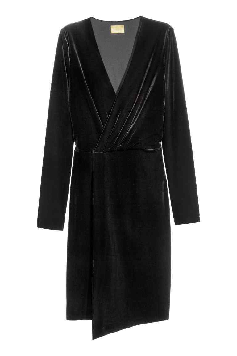 Velour Wrap Dress - style: faux wrap/wrap; neckline: low v-neck; pattern: plain; bust detail: subtle bust detail; predominant colour: black; occasions: evening; length: just above the knee; fit: body skimming; fibres: polyester/polyamide - stretch; sleeve length: long sleeve; sleeve style: standard; pattern type: fabric; texture group: velvet/fabrics with pile; season: a/w 2016; wardrobe: event; trends: velvet