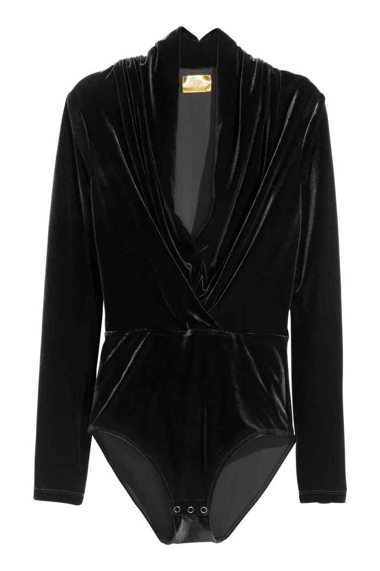 Draped Body - neckline: low v-neck; pattern: plain; predominant colour: black; occasions: evening; length: standard; fibres: polyester/polyamide - stretch; fit: body skimming; sleeve length: long sleeve; sleeve style: standard; pattern type: fabric; texture group: velvet/fabrics with pile; style: bodysuit; season: a/w 2016