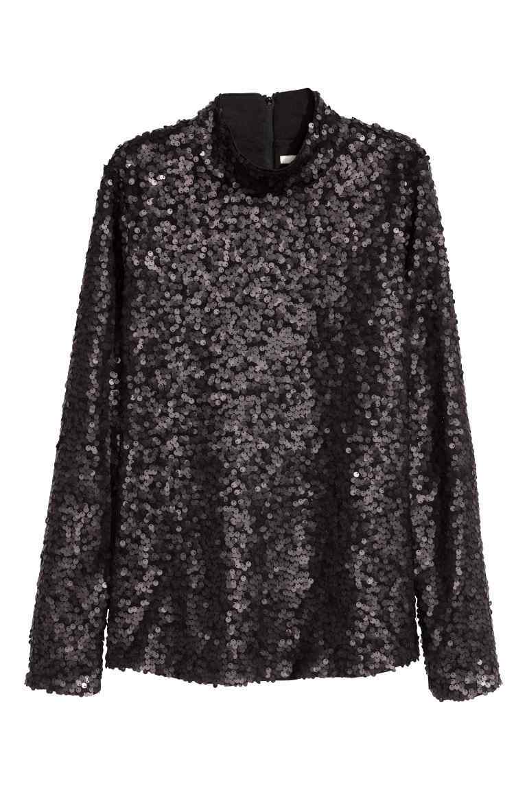 Sequined Top - pattern: plain; neckline: high neck; predominant colour: black; occasions: evening; length: standard; style: top; fibres: polyester/polyamide - 100%; fit: loose; sleeve length: long sleeve; sleeve style: standard; texture group: sheer fabrics/chiffon/organza etc.; pattern type: fabric; embellishment: sequins; season: a/w 2016; wardrobe: event
