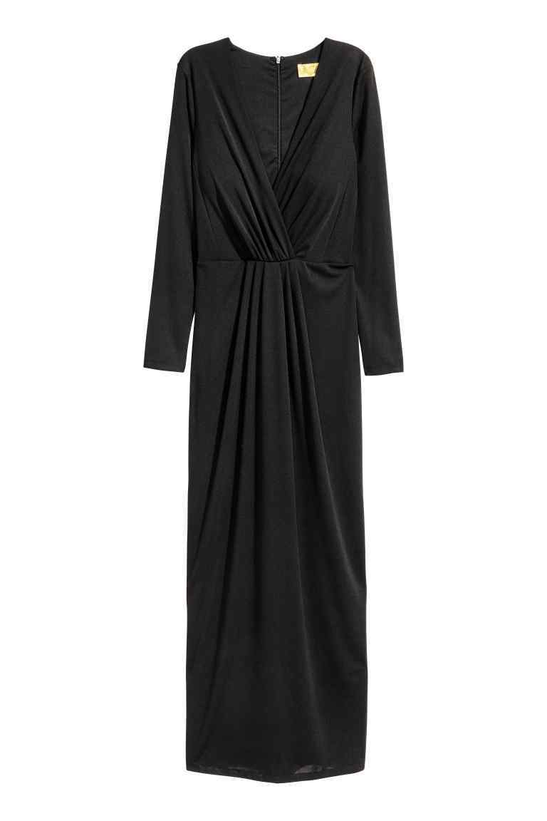 V Neck Maxi Dress - neckline: low v-neck; pattern: plain; style: maxi dress; length: ankle length; waist detail: fitted waist; bust detail: ruching/gathering/draping/layers/pintuck pleats at bust; predominant colour: black; occasions: evening; fit: body skimming; fibres: polyester/polyamide - stretch; hip detail: ruching/gathering at hip; sleeve length: long sleeve; sleeve style: standard; pattern type: fabric; texture group: jersey - stretchy/drapey; season: a/w 2016; wardrobe: event