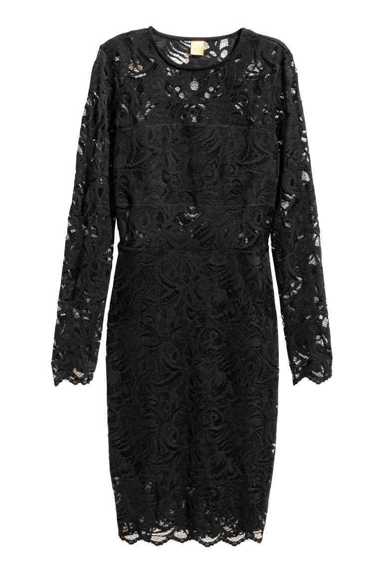 Knee Length Lace Dress - style: shift; fit: tailored/fitted; predominant colour: black; occasions: evening, occasion; length: on the knee; fibres: polyester/polyamide - 100%; neckline: crew; sleeve length: long sleeve; sleeve style: standard; texture group: lace; pattern type: fabric; pattern size: standard; pattern: patterned/print; season: a/w 2016