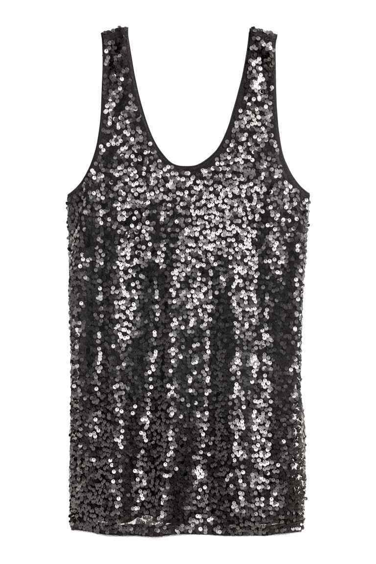 Sequined Vest Top - pattern: plain; sleeve style: sleeveless; style: vest top; predominant colour: black; occasions: evening; length: standard; neckline: scoop; fibres: polyester/polyamide - 100%; fit: loose; sleeve length: sleeveless; pattern type: fabric; texture group: jersey - stretchy/drapey; embellishment: sequins; season: a/w 2016; wardrobe: event