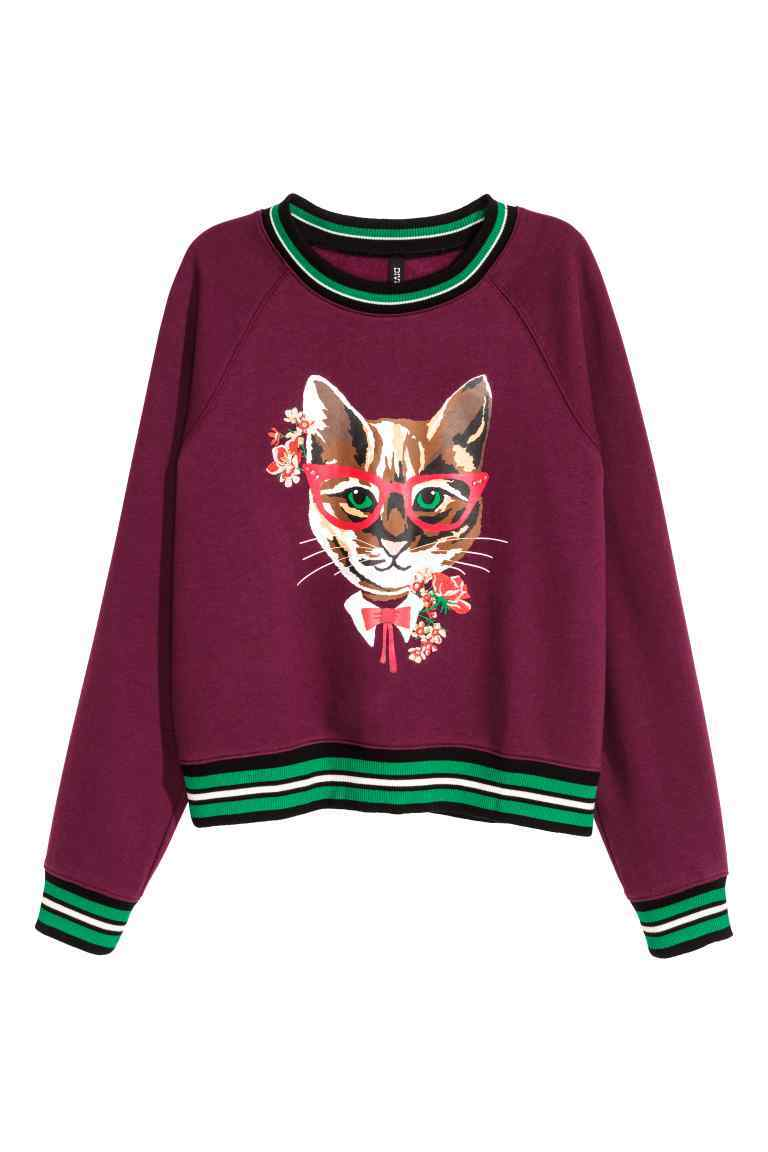 Sweatshirt With A Motif - style: sweat top; predominant colour: burgundy; secondary colour: mint green; occasions: casual; length: standard; fibres: cotton - mix; fit: loose; neckline: crew; sleeve length: long sleeve; sleeve style: standard; pattern type: fabric; pattern: patterned/print; texture group: jersey - stretchy/drapey; multicoloured: multicoloured; season: a/w 2016; wardrobe: highlight