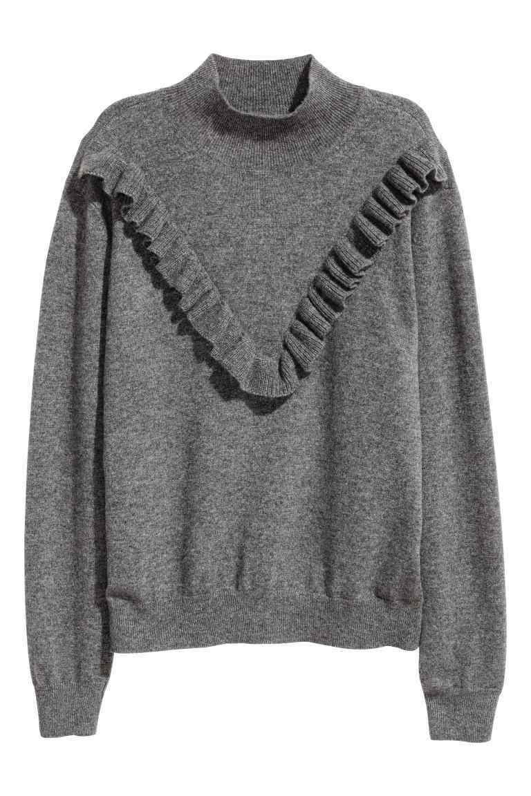Fine Knit Cashmere Jumper - pattern: plain; neckline: roll neck; style: standard; predominant colour: charcoal; occasions: casual, creative work; length: standard; fit: loose; fibres: cashmere - 100%; sleeve length: long sleeve; sleeve style: standard; texture group: knits/crochet; bust detail: bulky details at bust; pattern type: knitted - fine stitch; season: a/w 2016; wardrobe: highlight