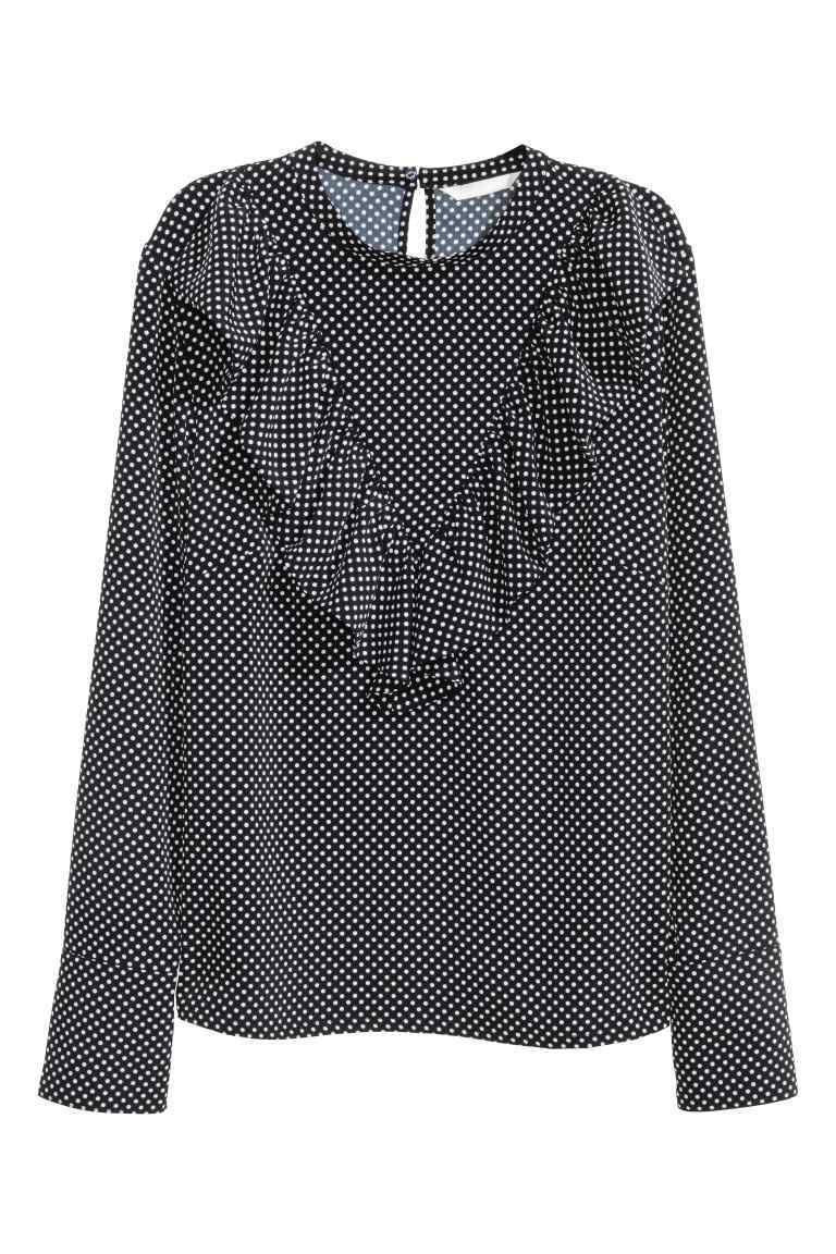 Frilled Blouse - style: blouse; pattern: polka dot; secondary colour: white; predominant colour: navy; occasions: casual; length: standard; fibres: polyester/polyamide - 100%; fit: loose; neckline: crew; sleeve length: long sleeve; sleeve style: standard; bust detail: tiers/frills/bulky drapes/pleats; pattern type: fabric; texture group: woven light midweight; multicoloured: multicoloured; season: a/w 2016