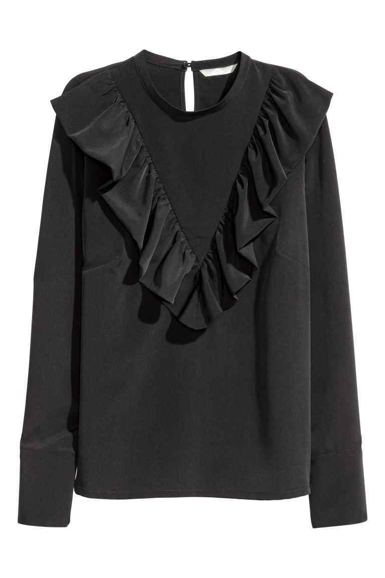 Frilled Blouse - pattern: plain; neckline: high neck; style: blouse; predominant colour: black; occasions: casual; length: standard; fibres: polyester/polyamide - 100%; fit: loose; sleeve length: long sleeve; sleeve style: standard; texture group: silky - light; bust detail: tiers/frills/bulky drapes/pleats; pattern type: fabric; season: a/w 2016; wardrobe: highlight