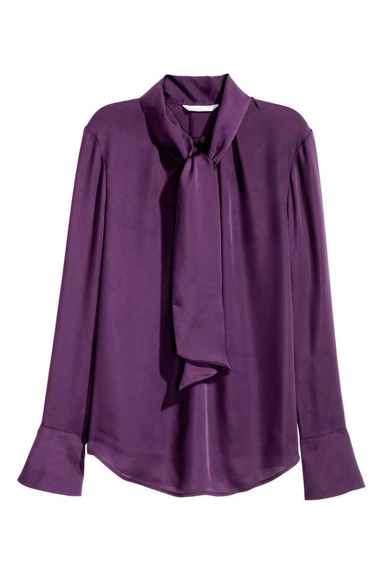 Tie Neck Blouse - pattern: plain; neckline: pussy bow; style: blouse; predominant colour: purple; occasions: evening; length: standard; fibres: polyester/polyamide - 100%; fit: loose; sleeve length: long sleeve; sleeve style: standard; texture group: linen; pattern type: fabric; season: a/w 2016; wardrobe: event