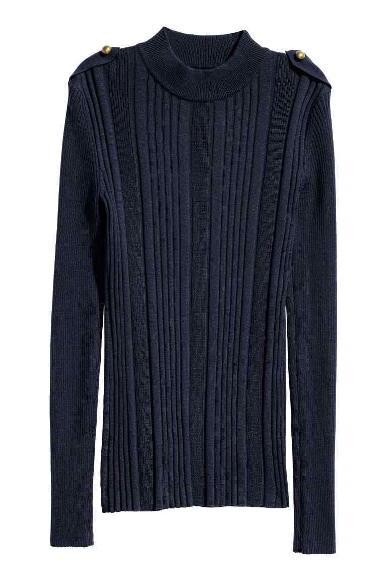 Knitted Jumper - pattern: plain; neckline: roll neck; style: standard; predominant colour: navy; occasions: casual, work, creative work; fibres: wool - mix; fit: loose; length: mid thigh; sleeve length: long sleeve; sleeve style: standard; texture group: knits/crochet; pattern type: knitted - fine stitch; wardrobe: basic; season: a/w 2016