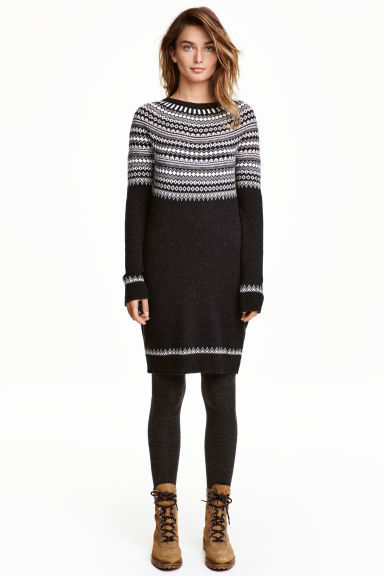 Knitted Dress - style: jumper dress; pattern: horizontal stripes; predominant colour: charcoal; secondary colour: light grey; occasions: casual; length: just above the knee; fit: body skimming; fibres: cotton - mix; neckline: crew; sleeve length: long sleeve; sleeve style: standard; texture group: knits/crochet; pattern type: knitted - other; multicoloured: multicoloured; season: a/w 2016