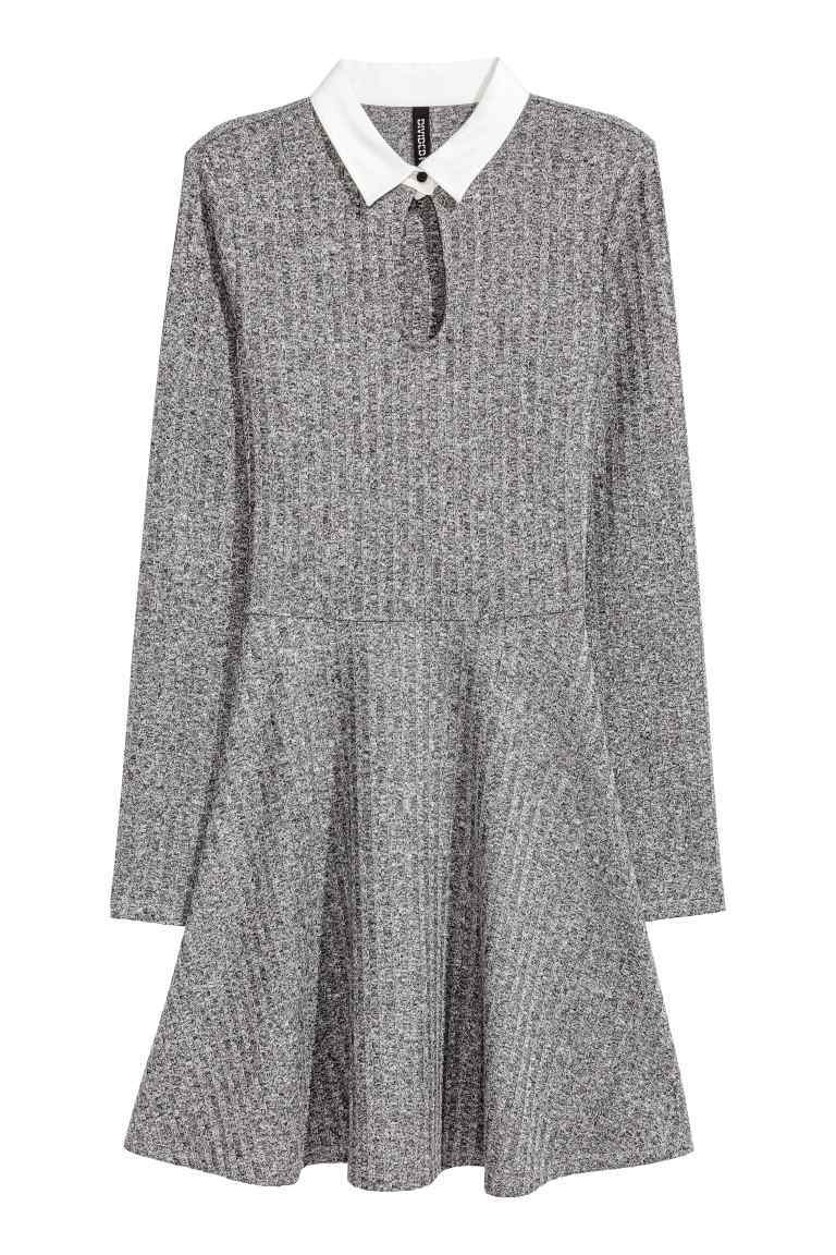 Ribbed Dress - pattern: plain; secondary colour: white; predominant colour: mid grey; occasions: casual; length: just above the knee; fit: fitted at waist & bust; style: fit & flare; fibres: polyester/polyamide - stretch; neckline: no opening/shirt collar/peter pan; sleeve length: long sleeve; sleeve style: standard; texture group: knits/crochet; pattern type: knitted - other; multicoloured: multicoloured; wardrobe: basic; season: a/w 2016