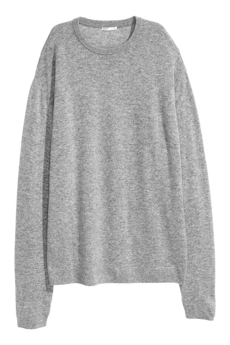 Oversized Cashmere Jumper - pattern: plain; length: below the bottom; style: standard; predominant colour: mid grey; occasions: casual, creative work; fit: loose; neckline: crew; fibres: cashmere - 100%; sleeve length: long sleeve; sleeve style: standard; texture group: knits/crochet; pattern type: knitted - fine stitch; wardrobe: investment; season: a/w 2016