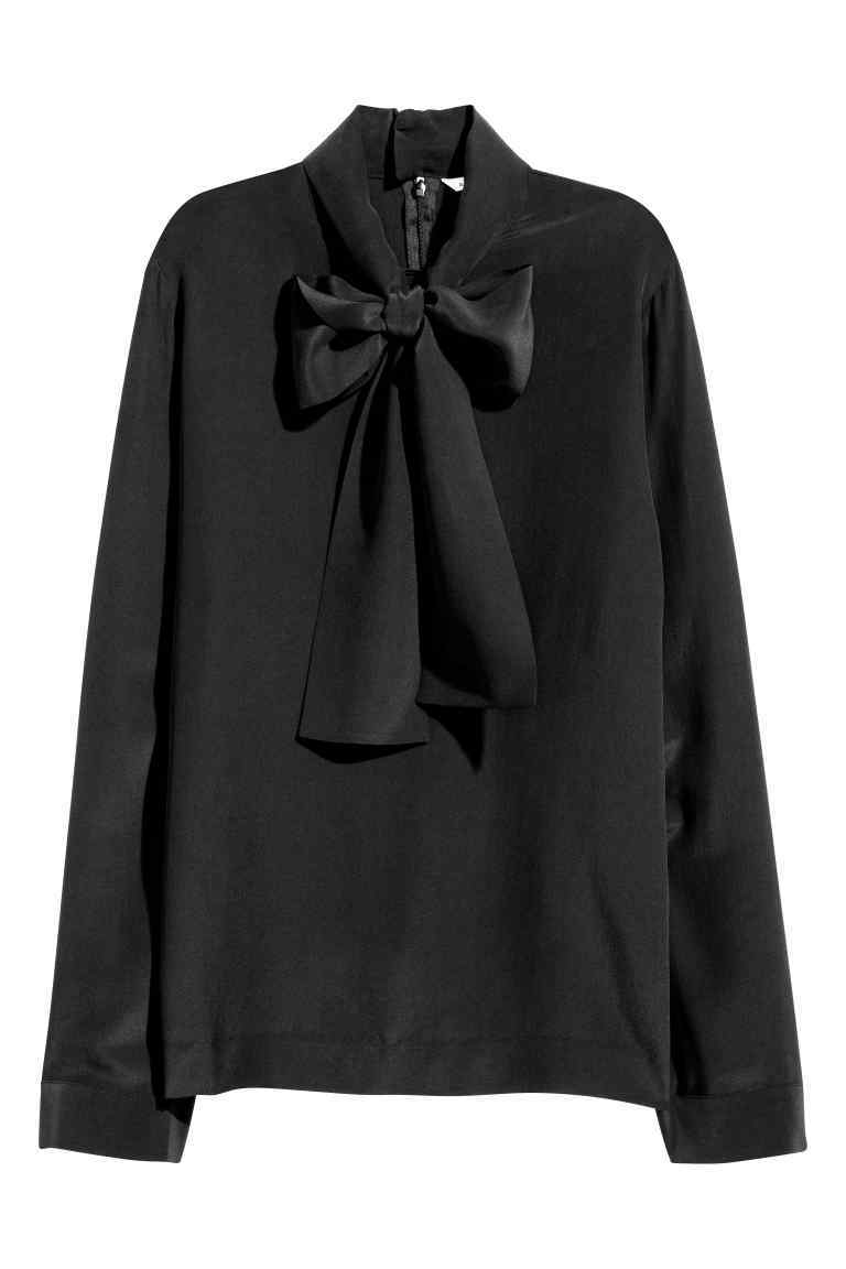 Silk Pussy Bow Blouse - pattern: plain; neckline: pussy bow; style: blouse; predominant colour: black; occasions: evening; length: standard; fibres: silk - 100%; fit: loose; sleeve length: long sleeve; sleeve style: standard; texture group: silky - light; pattern type: fabric; season: a/w 2016; wardrobe: event