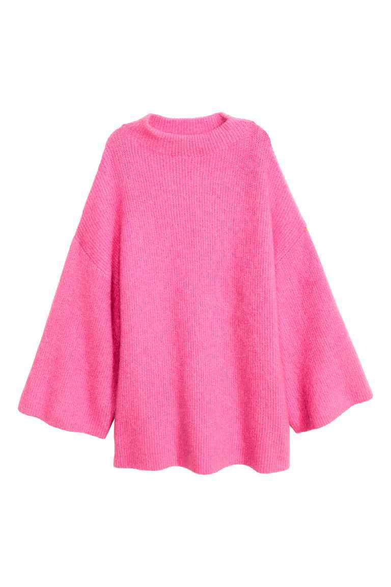 Knitted Turtleneck Jumper - sleeve style: dolman/batwing; pattern: plain; neckline: high neck; length: below the bottom; style: standard; predominant colour: pink; occasions: casual, creative work; fibres: polyester/polyamide - stretch; fit: loose; sleeve length: long sleeve; texture group: knits/crochet; pattern type: knitted - other; season: a/w 2016; wardrobe: highlight