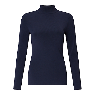 Roll Neck Jumper - pattern: plain; neckline: roll neck; style: standard; predominant colour: navy; occasions: casual, creative work; length: standard; fit: tight; sleeve length: long sleeve; sleeve style: standard; texture group: knits/crochet; pattern type: knitted - fine stitch; pattern size: standard; fibres: viscose/rayon - mix; wardrobe: basic; season: a/w 2016