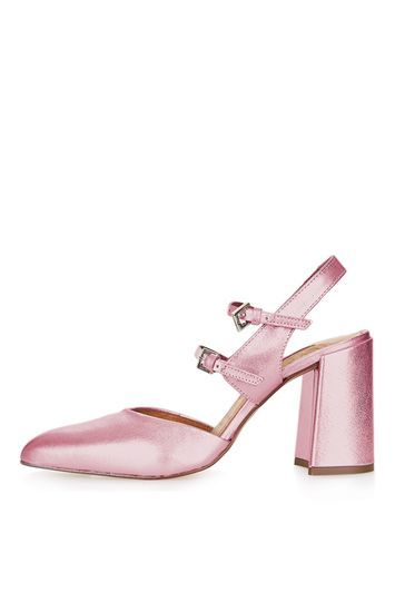 Glenda Buckle Shoes - predominant colour: pink; occasions: evening; material: leather; heel height: high; embellishment: buckles; heel: stiletto; toe: pointed toe; style: slingbacks; finish: metallic; pattern: plain; season: a/w 2016; wardrobe: event