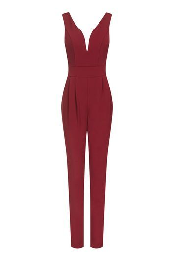Plunge Neck Jumpsuit By Wal G - length: standard; neckline: plunge; pattern: plain; sleeve style: sleeveless; predominant colour: burgundy; occasions: evening; fit: body skimming; fibres: polyester/polyamide - stretch; sleeve length: sleeveless; style: jumpsuit; pattern type: fabric; texture group: jersey - stretchy/drapey; season: a/w 2016; wardrobe: event