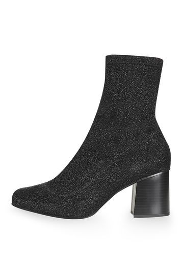 Martha Glitter Sock Boots - secondary colour: silver; predominant colour: black; material: faux leather; heel height: mid; embellishment: glitter; heel: block; toe: round toe; boot length: ankle boot; style: standard; finish: metallic; pattern: plain; occasions: creative work; season: a/w 2016