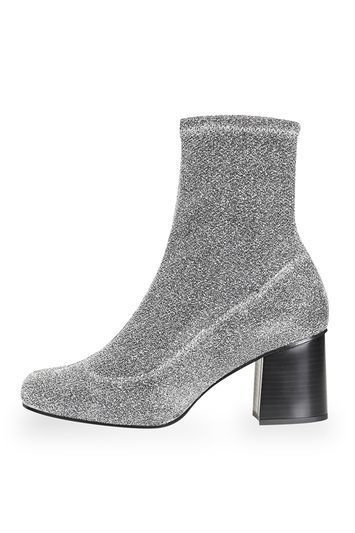Martha Glitter Sock Boots - predominant colour: silver; occasions: evening; material: faux leather; heel height: mid; embellishment: glitter; heel: block; toe: round toe; boot length: ankle boot; style: standard; finish: metallic; pattern: plain; season: a/w 2016; wardrobe: event