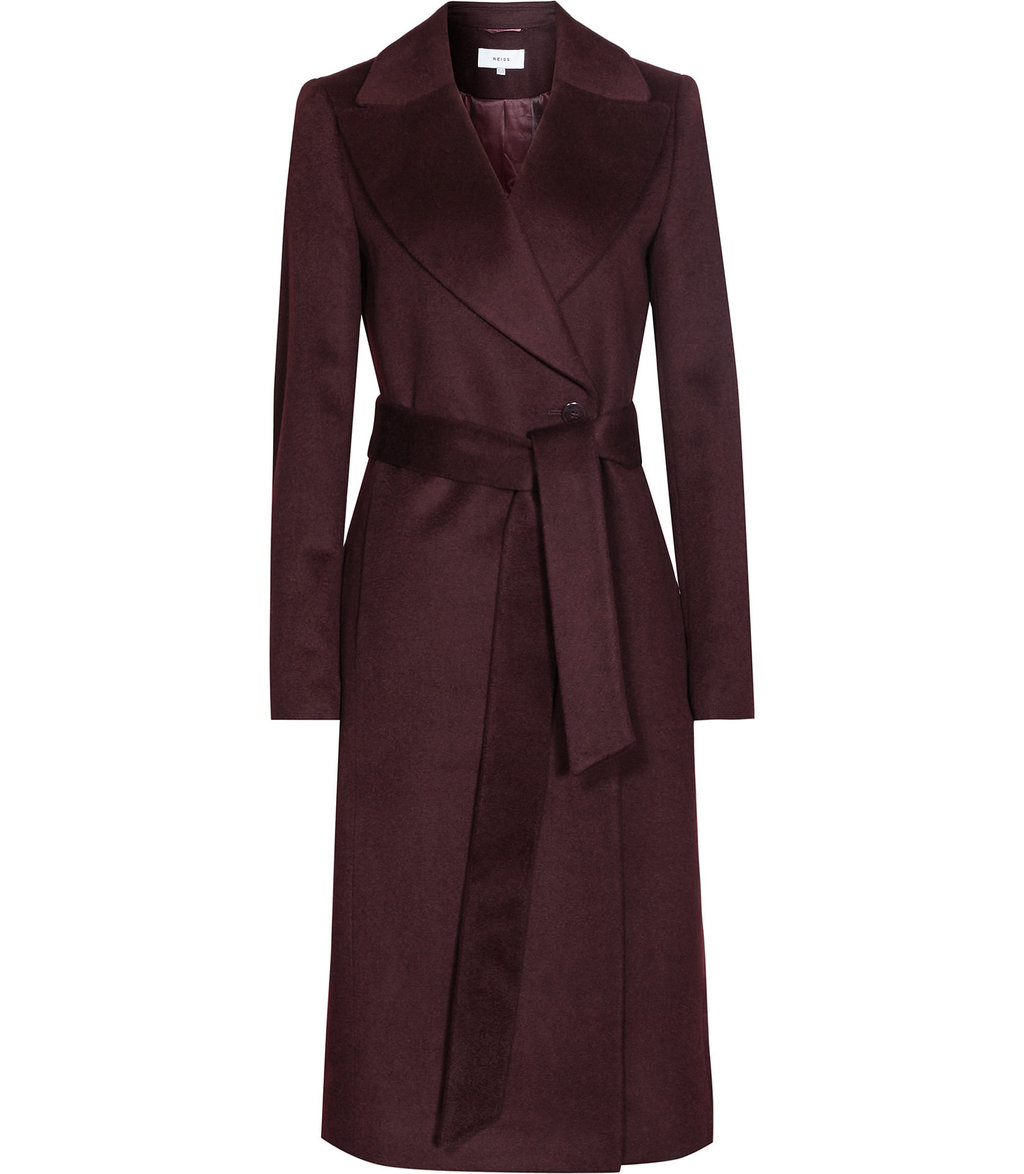 Forley Womens Textured Longline Coat In Purple - pattern: plain; collar: wide lapels; length: on the knee; style: wrap around; predominant colour: burgundy; occasions: casual, creative work; fit: tailored/fitted; fibres: wool - mix; waist detail: belted waist/tie at waist/drawstring; sleeve length: long sleeve; sleeve style: standard; collar break: medium; pattern type: fabric; texture group: woven bulky/heavy; season: a/w 2016; wardrobe: highlight