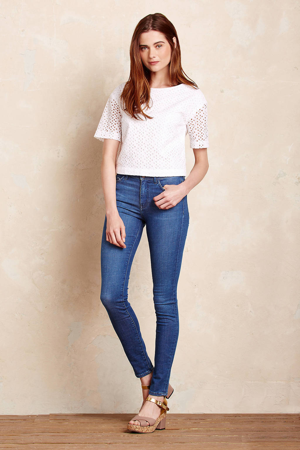 Mi H Bodycon Skinny Jeans - style: skinny leg; length: standard; pattern: plain; waist: mid/regular rise; predominant colour: denim; occasions: casual; fibres: cotton - stretch; jeans detail: shading down centre of thigh; texture group: denim; pattern type: fabric; wardrobe: basic; season: a/w 2016