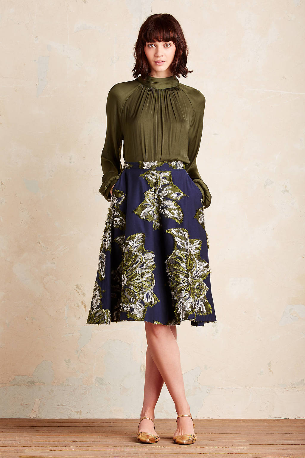 Avalyn Floral Skirt, Navy - style: full/prom skirt; fit: loose/voluminous; waist: mid/regular rise; predominant colour: navy; secondary colour: khaki; occasions: evening; length: on the knee; fibres: polyester/polyamide - 100%; pattern type: fabric; pattern: florals; texture group: woven light midweight; pattern size: big & busy (bottom); multicoloured: multicoloured; season: a/w 2016; wardrobe: event