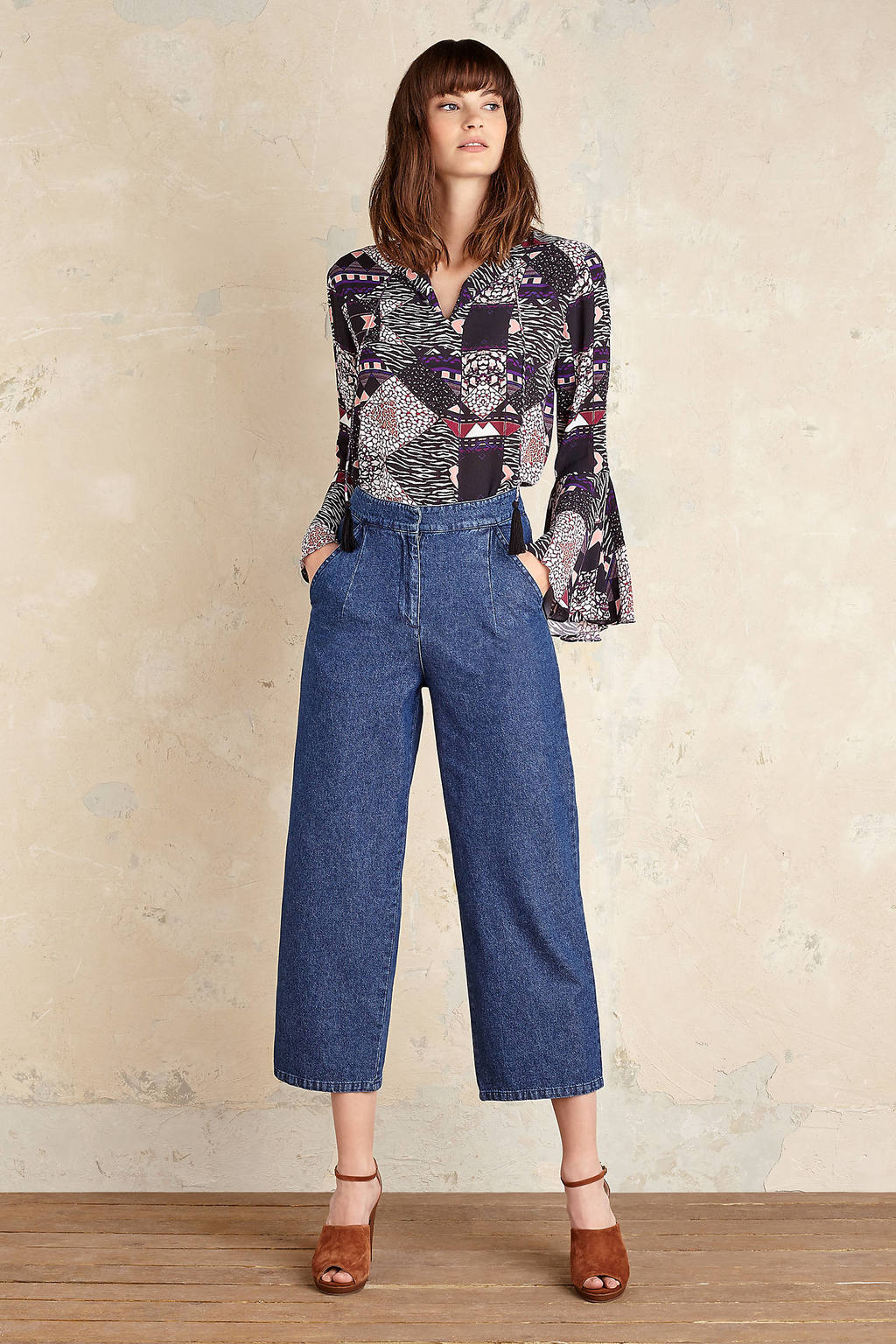 Kelsey Wide Leg Jeans - pattern: plain; waist: high rise; style: wide leg; predominant colour: denim; occasions: casual, creative work; length: calf length; fibres: cotton - stretch; texture group: denim; pattern type: fabric; wardrobe: basic; season: a/w 2016